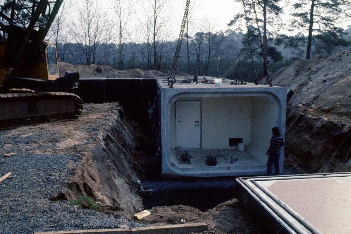 colocación de bunker con grúa